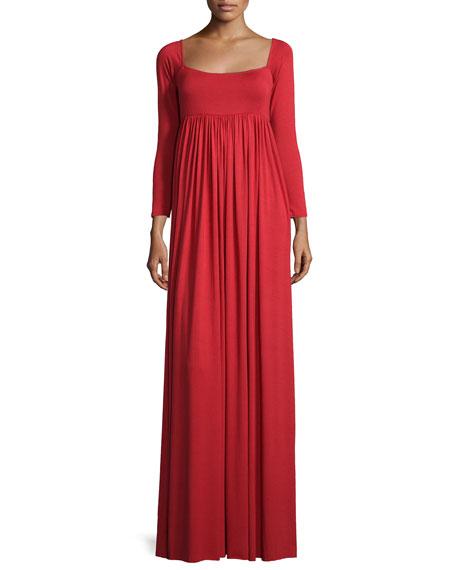 Isa 3/4-Sleeve Empire-Waist Jersey Maxi Dress Plus Size