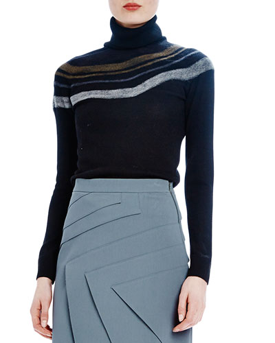 Needle-Punch Turtleneck with Stripes, Onyx