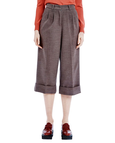 Cuffed Midi Flannel Trousers