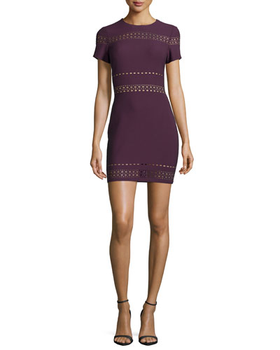 Ari Short-Sleeve Fitted Dress, Plum