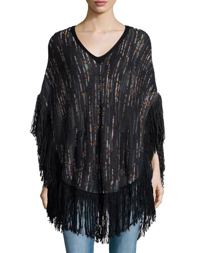 Woven Speckled Cape W/Fringe Trim, Black