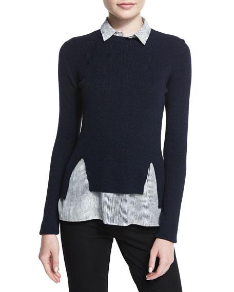 Joseph Long Sleeve Sweater W Striped Blouse Combo