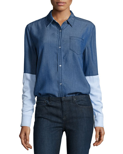 Chambray Colorblock Button-Down Shirt