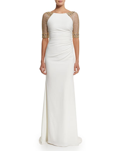 Beaded-Sleeve Shirred Gown