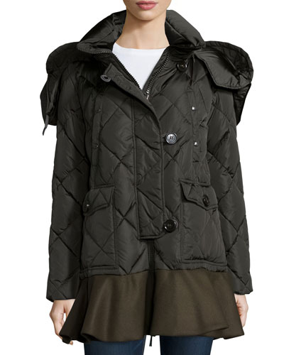 Vauloge Quilted Parka Jacket With Flounce Hem