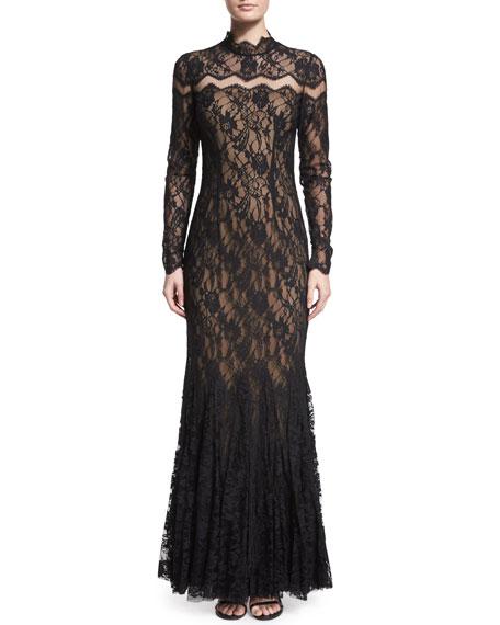 Mignon Long-Sleeve Chevron-Inset Lace Gown, Black