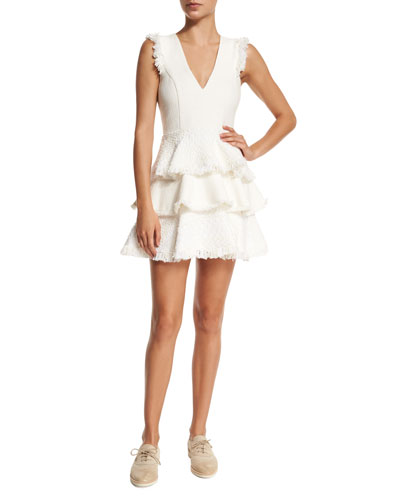 Sleeveless Zlata Tiered Raffia Dress, White