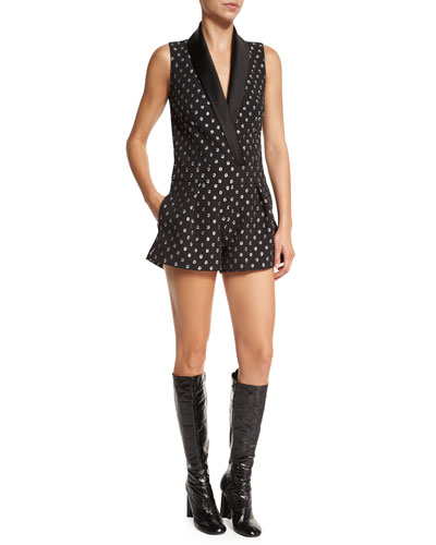 Fred Starlight Silk-Blend Romper, Black