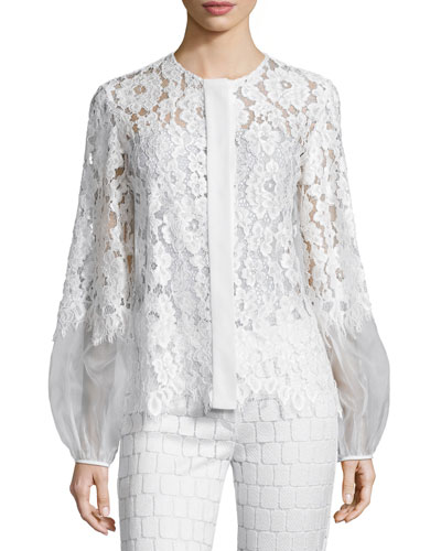 Sue Long-Sleeve Lace Blouse, White