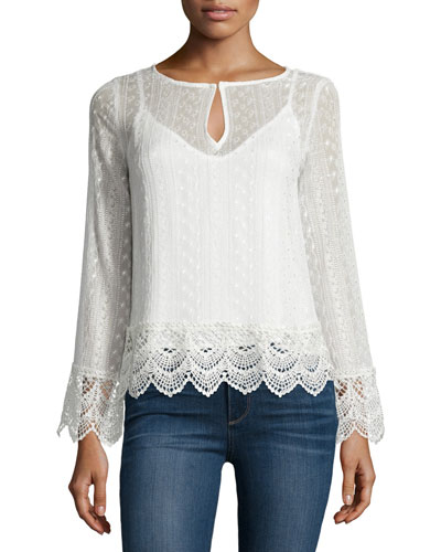 Long-Sleeve Lace Top, Natural