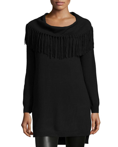 Fringe-Trim Cowl-Neck Sweater, Black