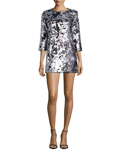 Danya Metallic Mini Dress, Pewter/Platinum