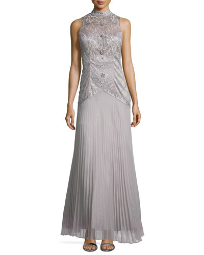 High-Neck Embroidered Pleated Gown
