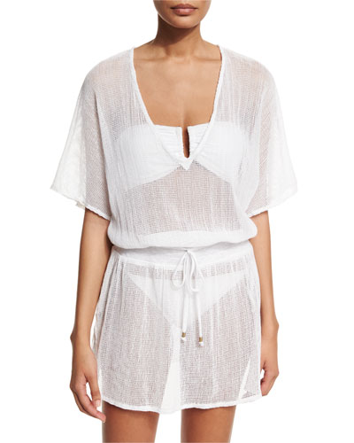 Lucette V-Neck Cotton-Gauze Tunic Coverup