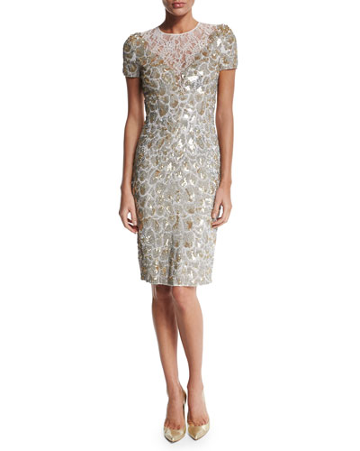 Short-Sleeve Sequined Cocktail Dress, Lunar