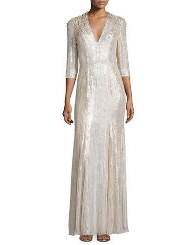 Long-Sleeve V-Neck Sequin Gown, Lunar