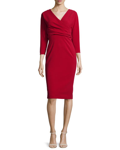 3/4-Sleeve Crossover Sheath Dress