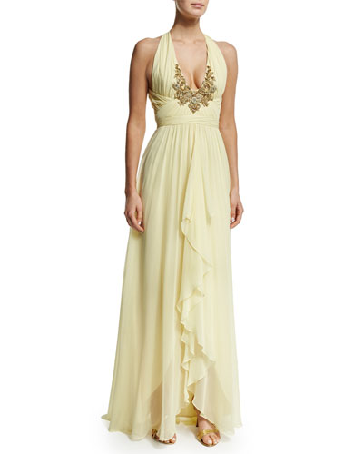 Embroidered V-Neck Halter Ruffed-Front Gown