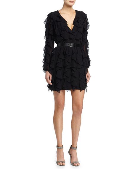 Michael Kors Ruffled V Neck Dress Black