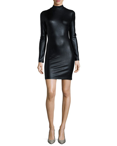Twilight Shine Long-Sleeve Fitted Dress, Black