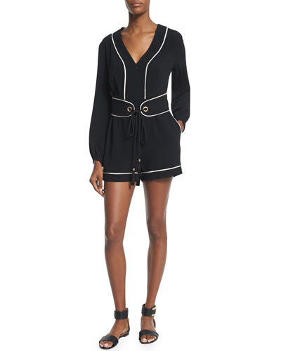 Paloma Long-Sleeve Romper, Black/Nude