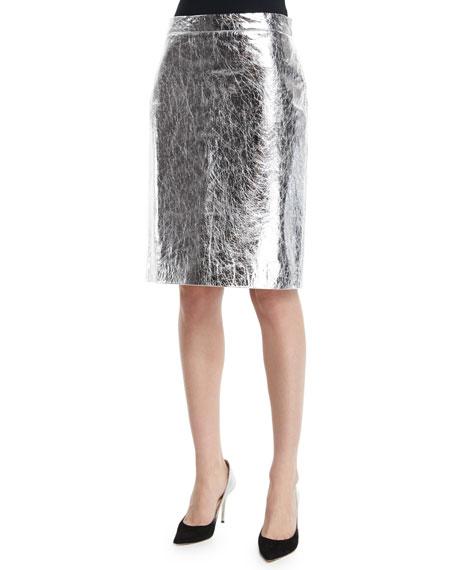 86795e52bde1a DKNY Metallic Leather Pencil Skirt