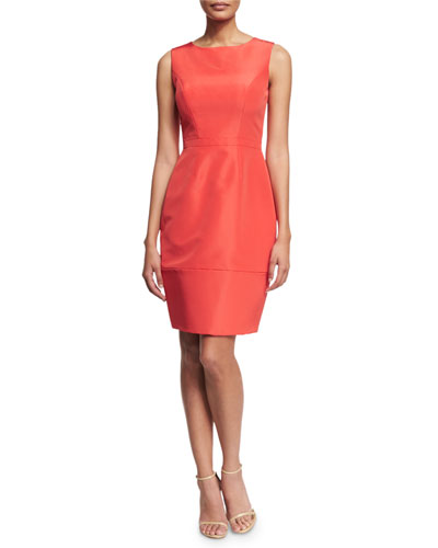 Sleeveless Round-Neck Cocktail Dress, Fuchsia