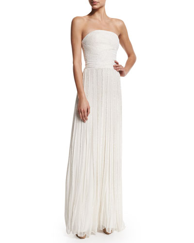 Strapless Embellished Pleated Gown, Ivory