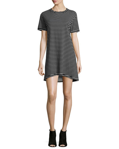 The Knit Tee Striped Dress, Black