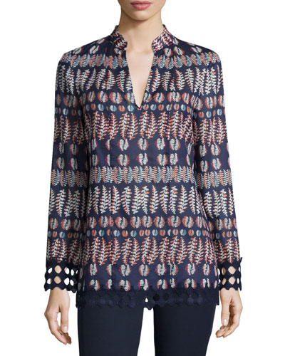 Long-Sleeve Printed Tunic, Tory Navy