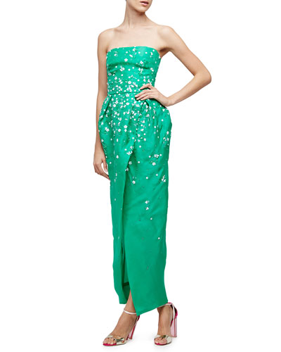 Strapless Floral-Embellished Gown, Spring Green