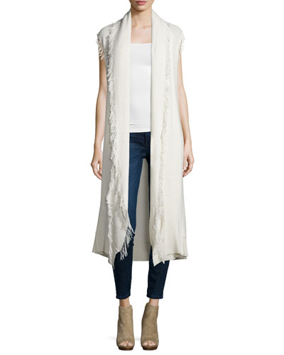 Maria Sleeveless Long Cardigan Sweater W/Fringe, Natural