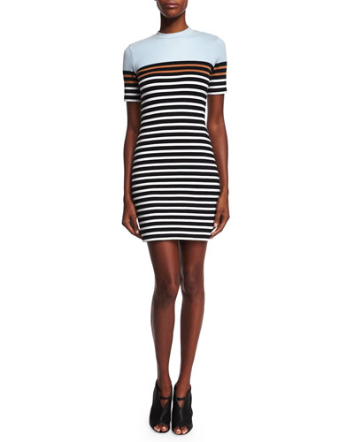 Striped Stretch Sheath Dress, Ice/Multicolor