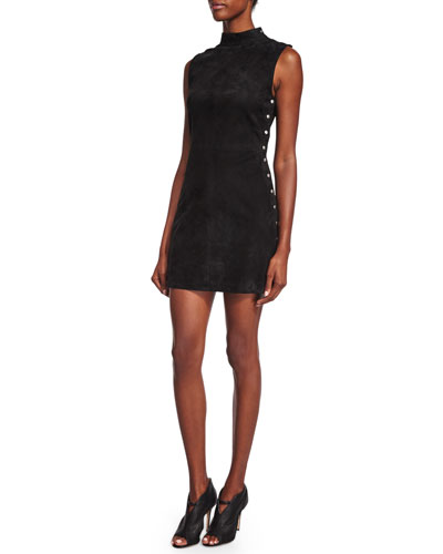 Studded Stretch-Suede Dress, Black