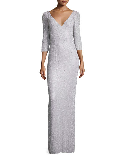 3/4-Sleeve Embellished Column Gown, Pale Wisteria