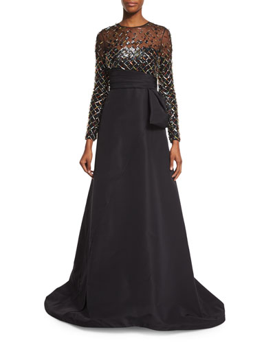 Embellished Long-Sleeve Gown, Black
