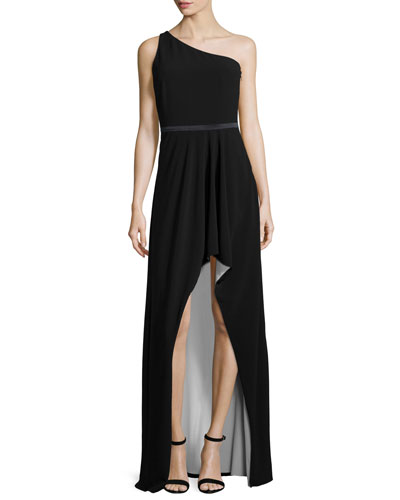 One-Shoulder Two-Tone Gown, Black/Bone