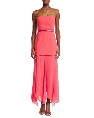 Strapless Flowy-Skirt Dress, Coral