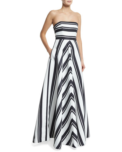 Strapless Striped Ball Gown, Black/Eggshell