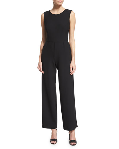 Sleeveless Stretchy Wide-Leg Jumpsuit