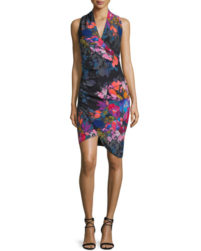Sleeveless Floral-Print Faux-Wrap Dress