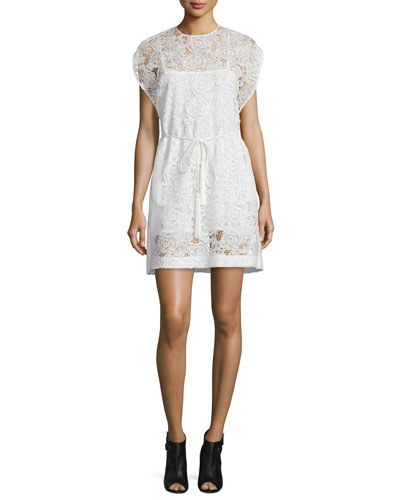 Belted Lace Cape Dress, Ivory