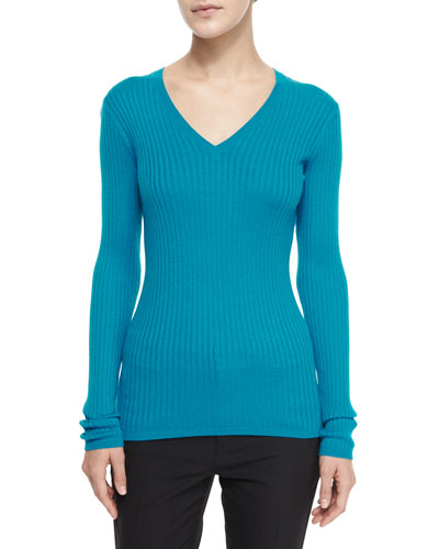 Ribbed Knit V-Neck Sweater, Bay
