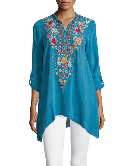 3682de7b0585 Johnny Was Sable Long-Sleeve Embroidered Tunic