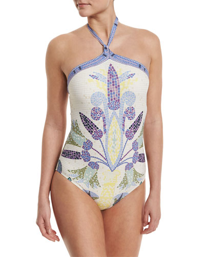 Mosaic Halter Once-Piece Swimsuit, Pompeii