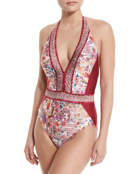 947fec0984 Gottex Shiraz Deep Halter Floral One-Piece Swimsuit