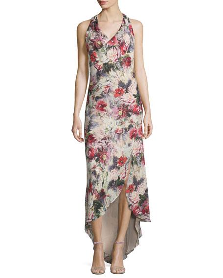 bb066f33ffdf Haute Hippie Cowl-Neck Racerback Maxi Dress, Blush/Multi