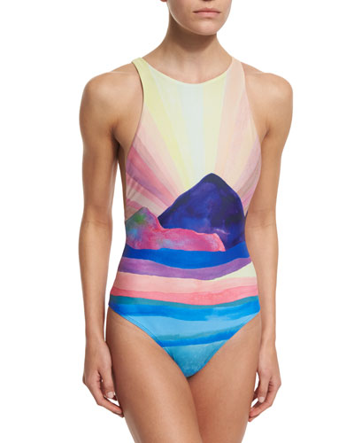 Landscape Printed Low-Back One-Piece Swimsuit
