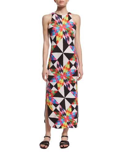 Fractals Printed Midi Coverup Dress
