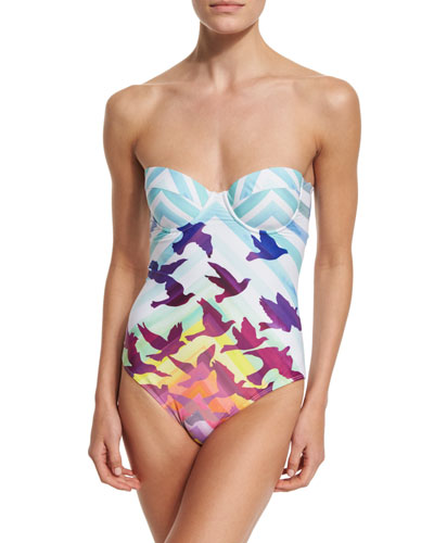 Prismatic Printed Bustier One-Piece Swimsuit